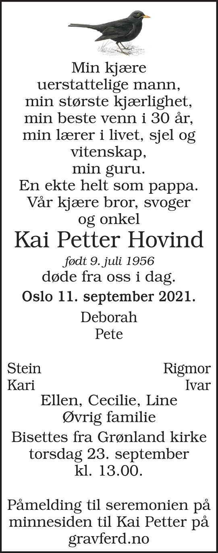 Kai Petter Hovind Dødsannonse