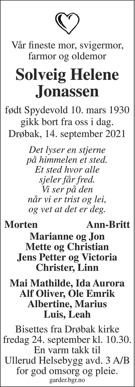 Solveig Helene Jonassen Dødsannonse