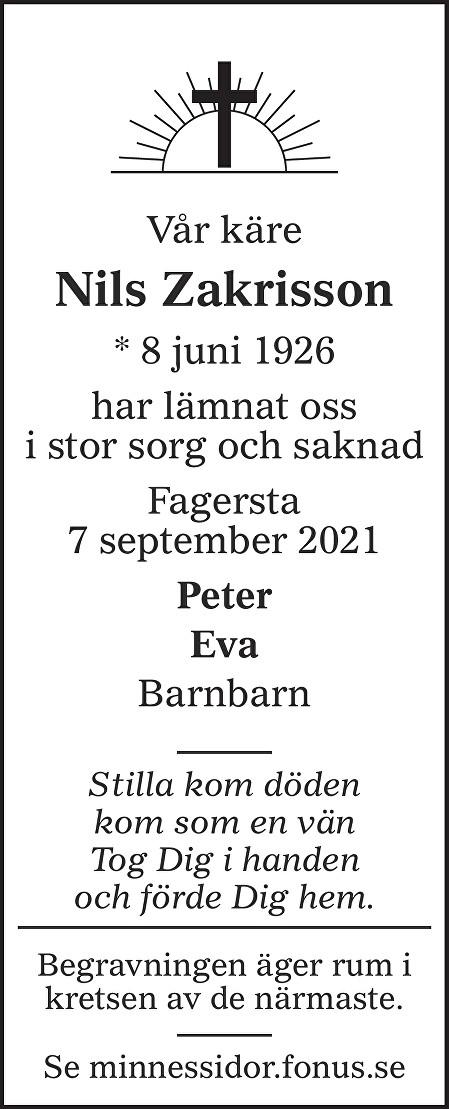 Nils Zakrisson Death notice