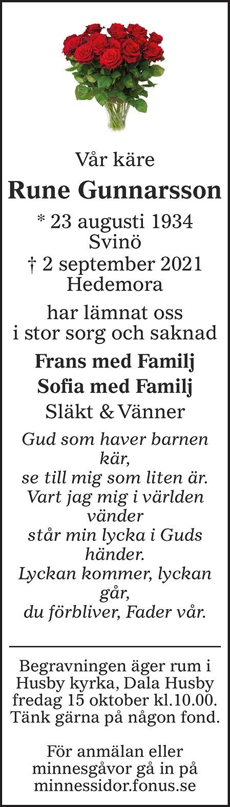 Rune Gunnarsson Death notice