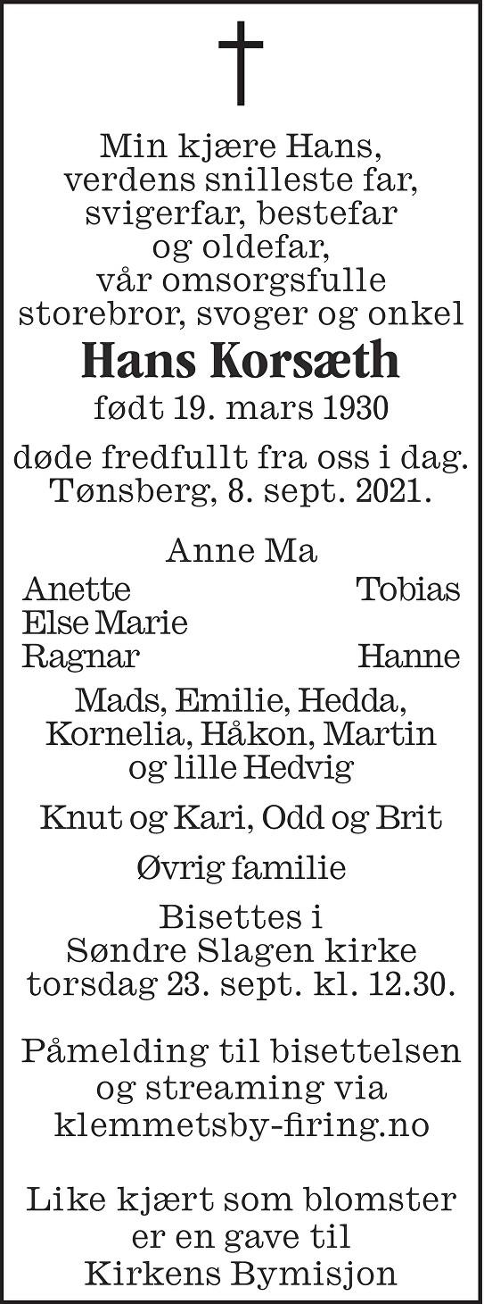 Hans Kristian Korsæth Dødsannonse
