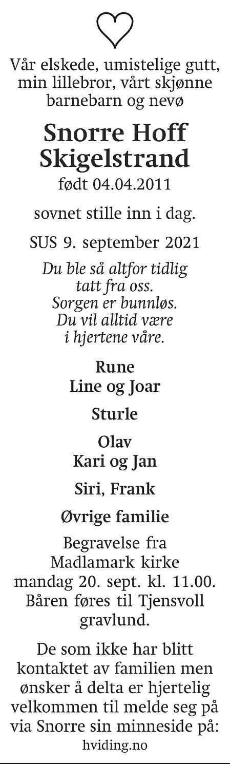 Snorre Hoff Skigelstrand Dødsannonse