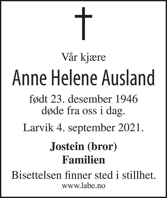 Anne Helene Ausland Dødsannonse