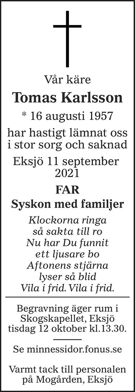 Tomas Karlsson Death notice