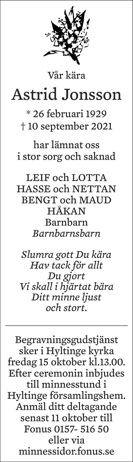 Astrid Jonsson Death notice