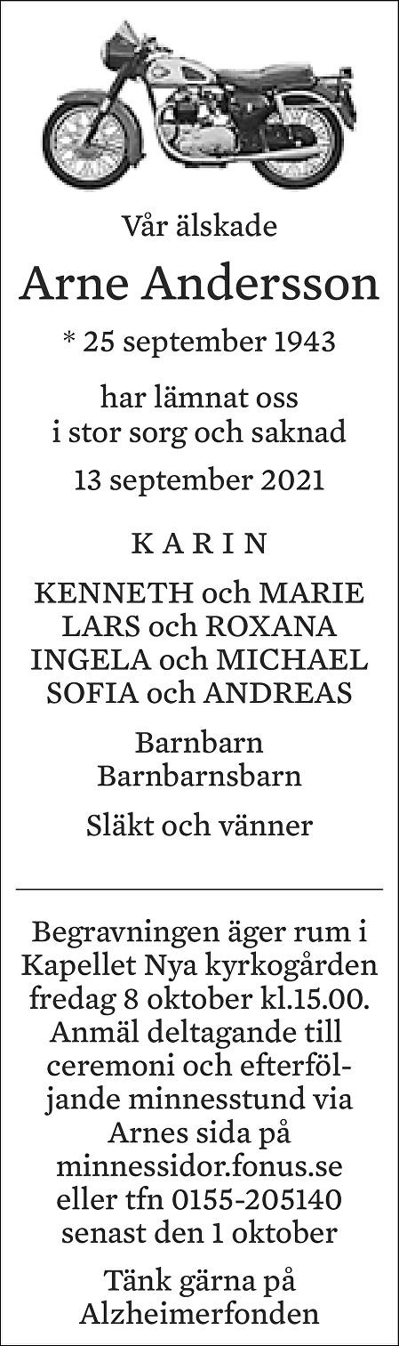 Arne Andersson Death notice