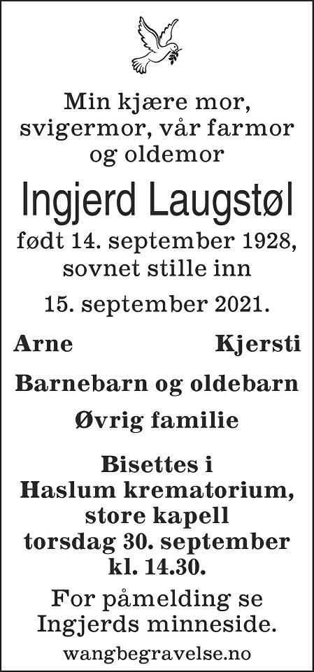 Marit Ingjerd Laugstøl Dødsannonse