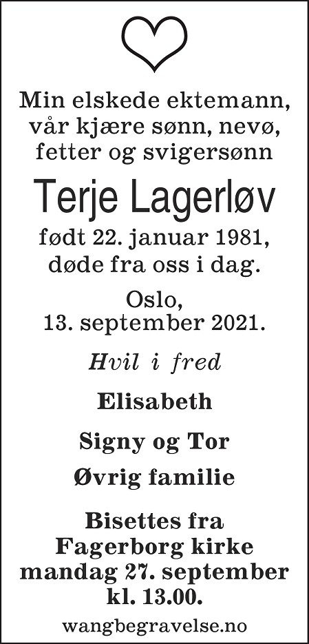 Terje Lagerløv Dødsannonse