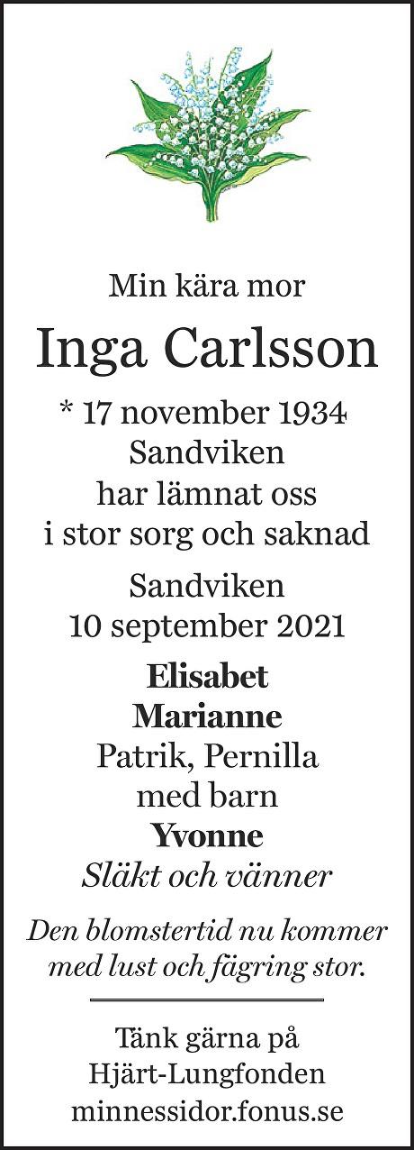 Inga Carlsson Death notice