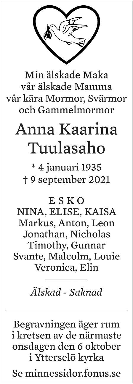 Anna Kaarina Tuulasaho Death notice