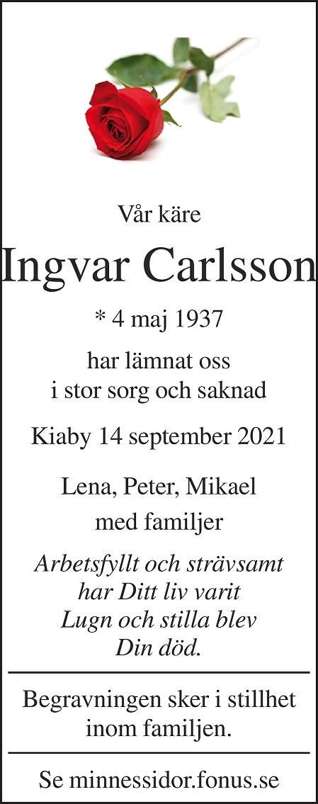 Ingvar Karlsson Death notice