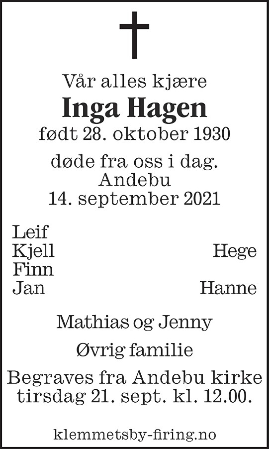 Inga Marie Hagen Dødsannonse