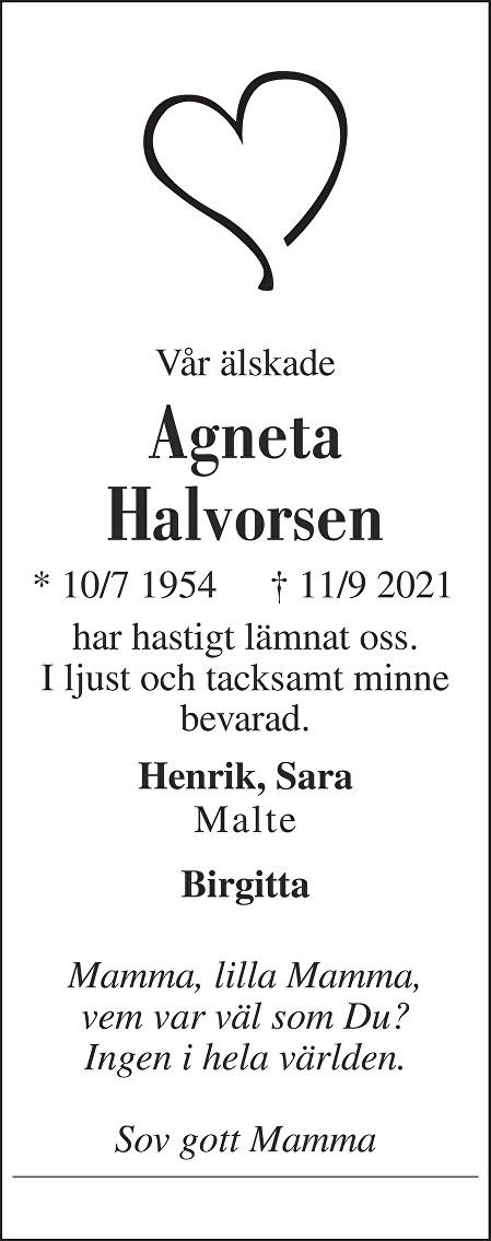 Agneta Halvorsen Death notice