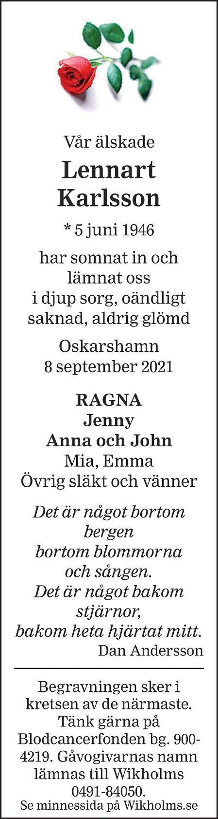 Lennart Karlsson Death notice