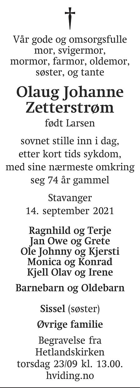 Olaug Johanne Zetterstrøm Dødsannonse