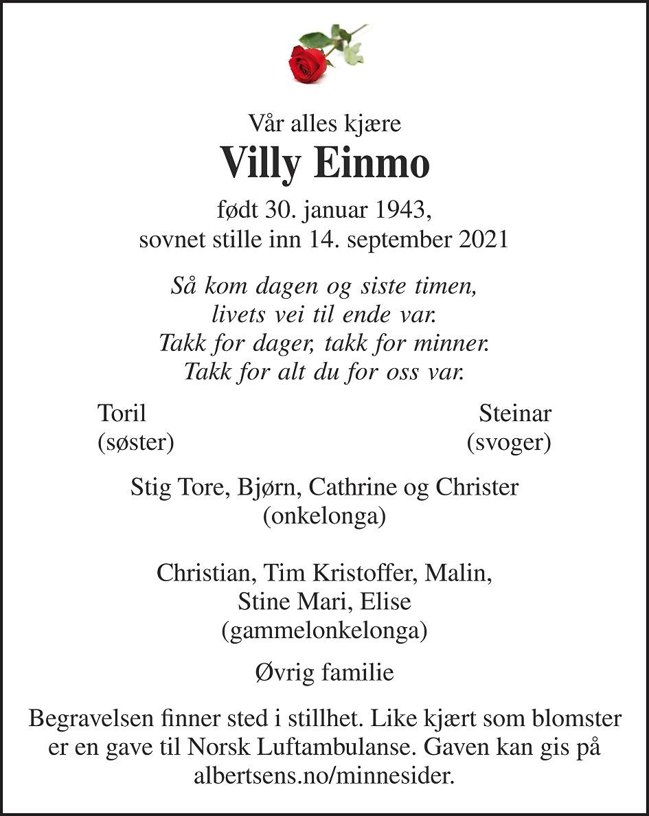 Villy Einmo Dødsannonse