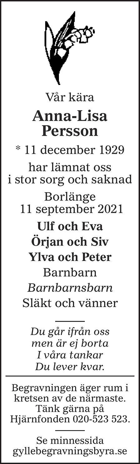 Anna-Lisa Persson Death notice