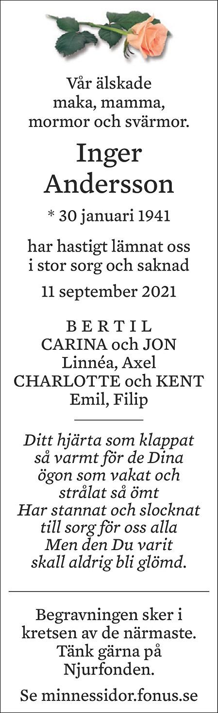 Inger Andersson Death notice