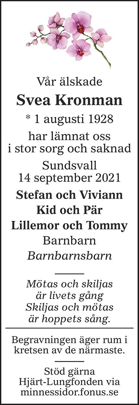 Svea Kronman Death notice