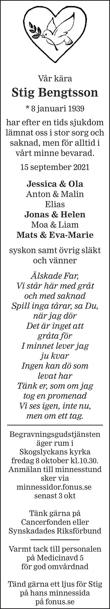 Stig Bengtsson Death notice