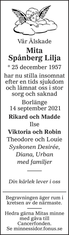 Mita Spånberg Lilja Death notice