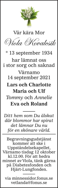Viola Kovalcsik Death notice
