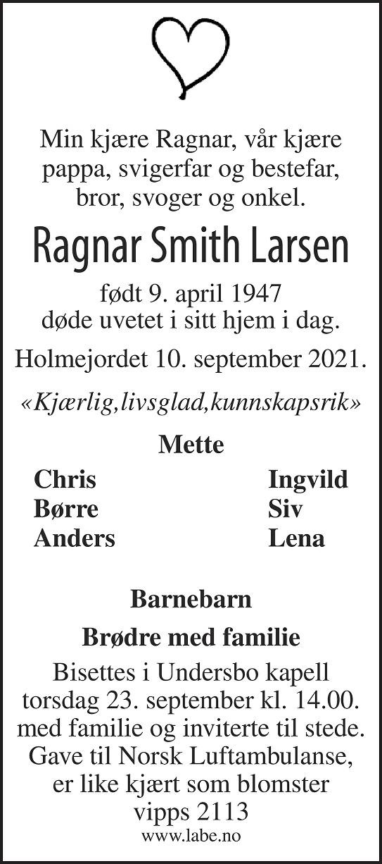 Ragnar Smith Larsen Dødsannonse