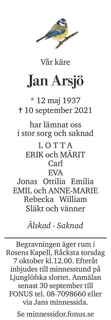 Jan Arsjö Death notice