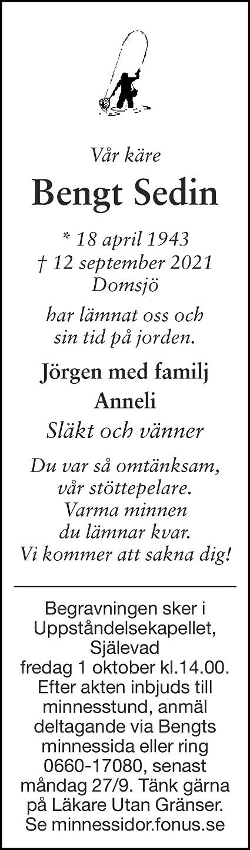 Bengt Sedin Death notice