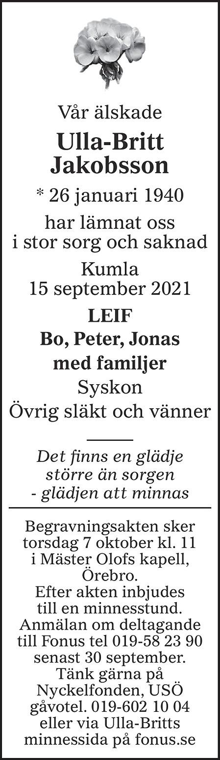 Ulla-Britt Jakobsson Death notice