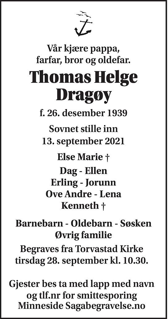 Thomas Dragøy Dødsannonse