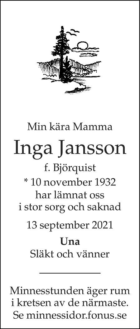 Inga Jansson Death notice