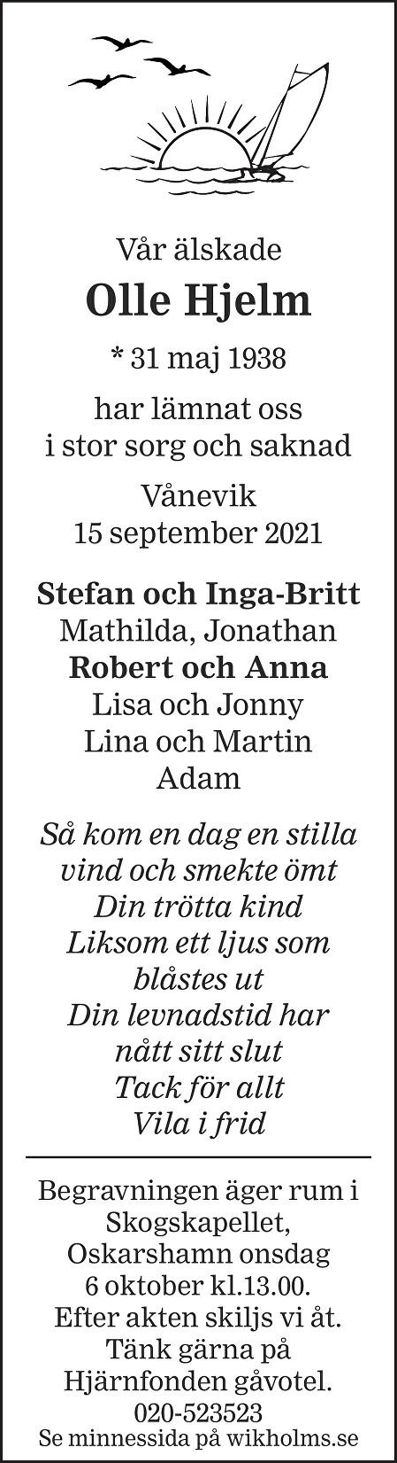 Olle Hjelm Death notice