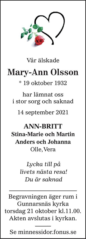Mary-Ann Olsson Death notice