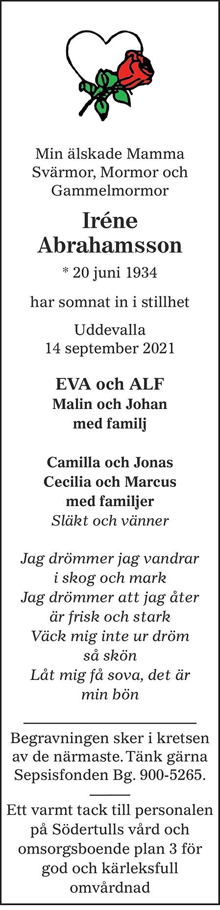Iréne Abrahamsson Death notice