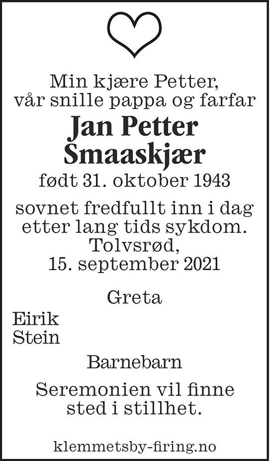Jan Petter Smaaskjær Dødsannonse