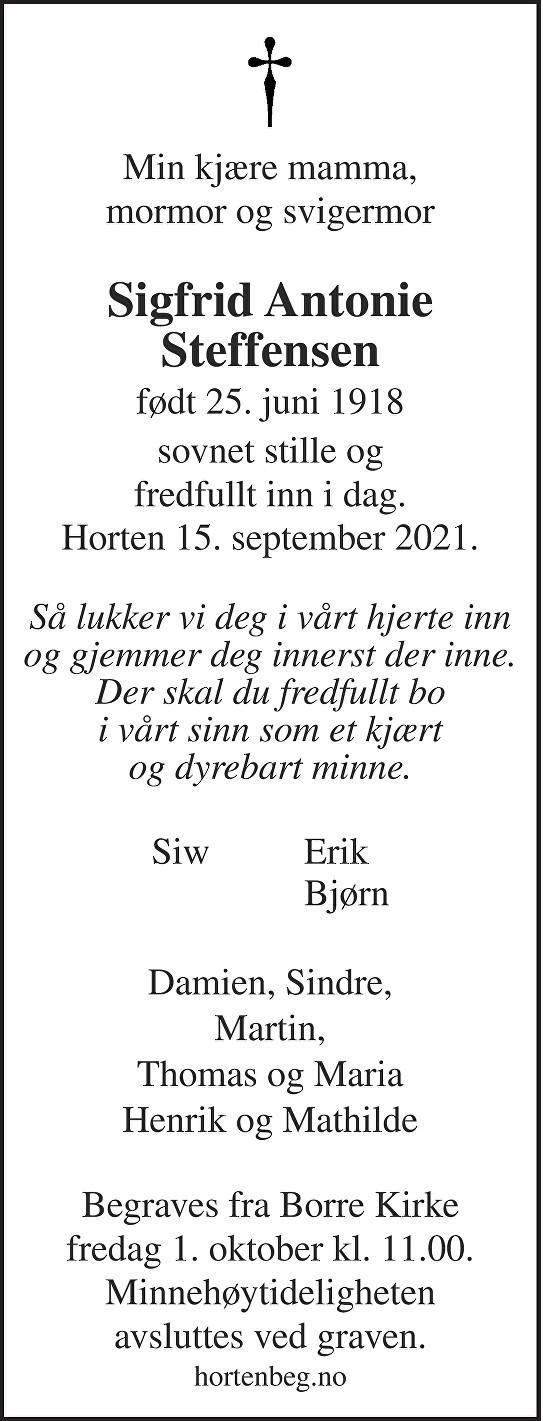 Sigfrid Antonie Steffensen Dødsannonse