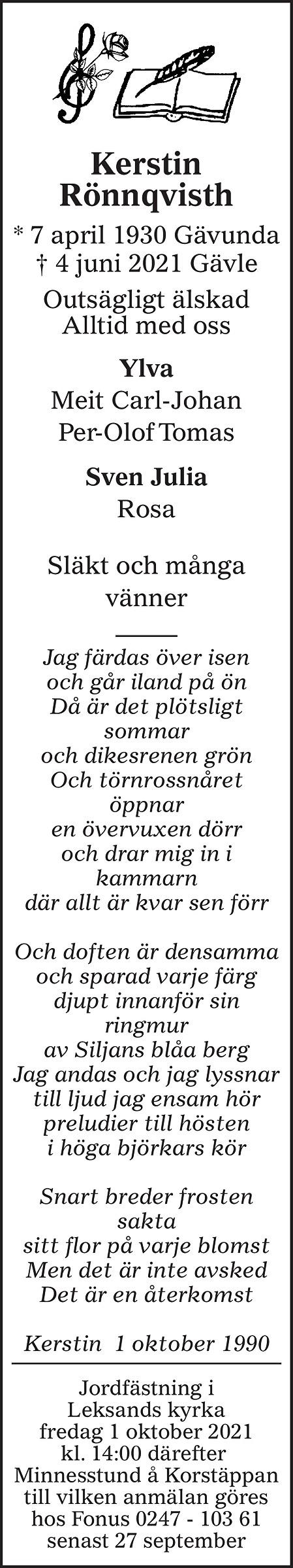 Kerstin Rönnqvisth Death notice