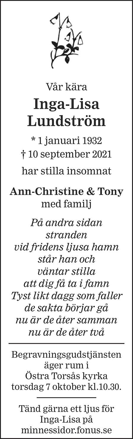 Inga-Lisa Lundström Death notice