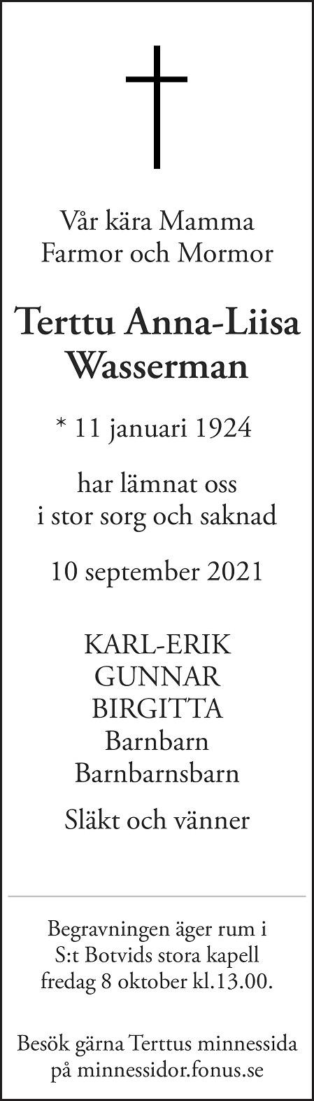Terttu Anna-Liisa Wasserman Death notice