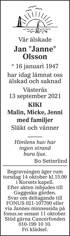 "Jan ""Janne"" Olsson Death notice"