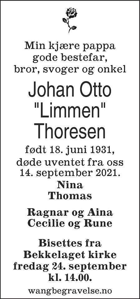Johan Otto Thoresen Dødsannonse