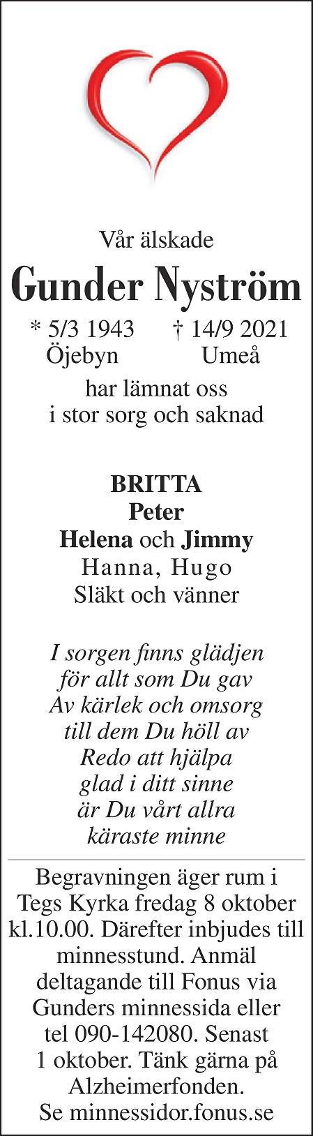 Gunder Nyström Death notice