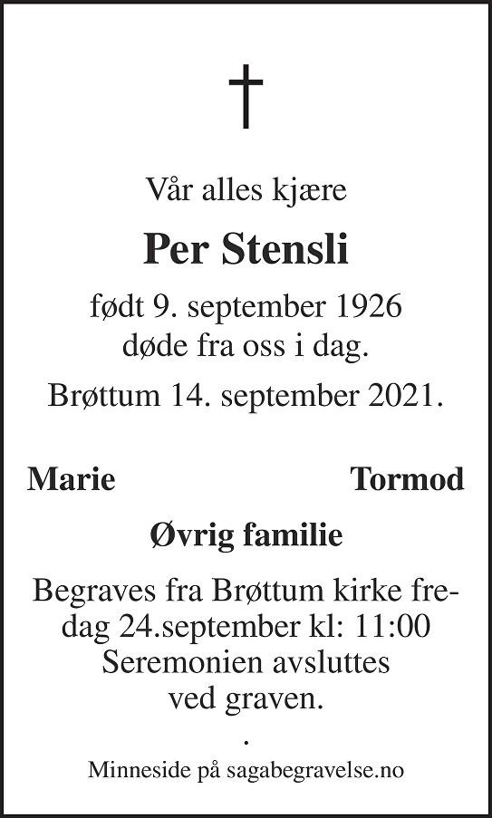 Per  Stensli Dødsannonse