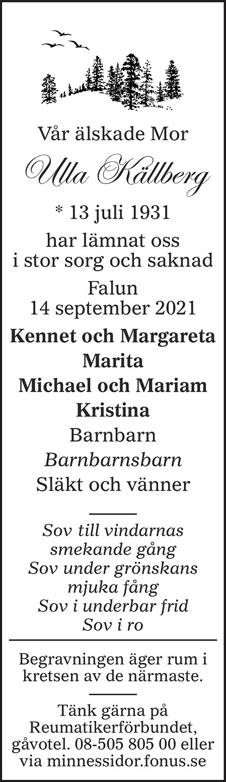Ulla Källberg Death notice