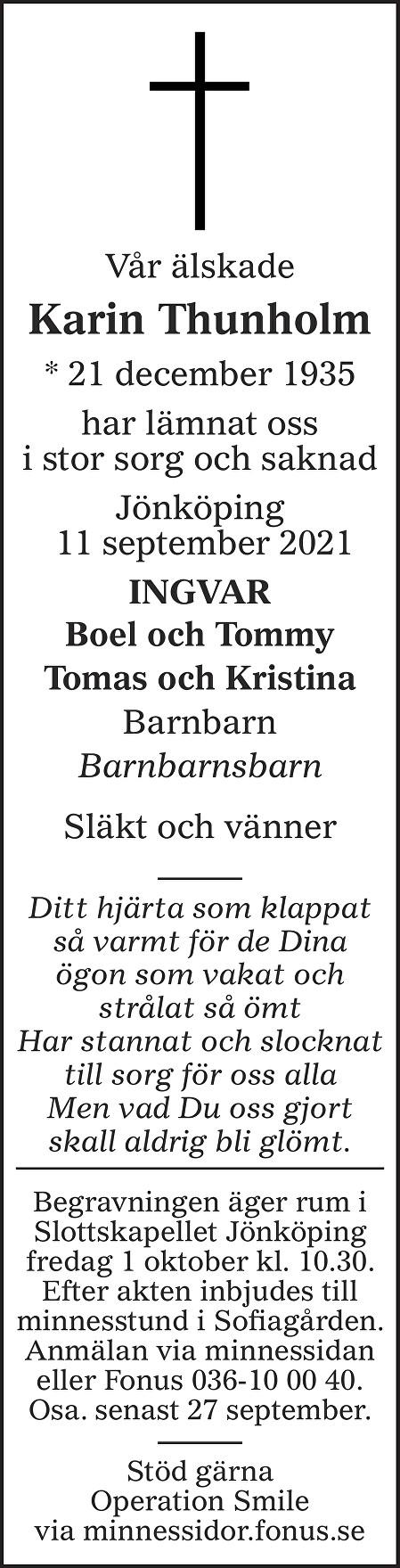 Karin Thunholm Death notice