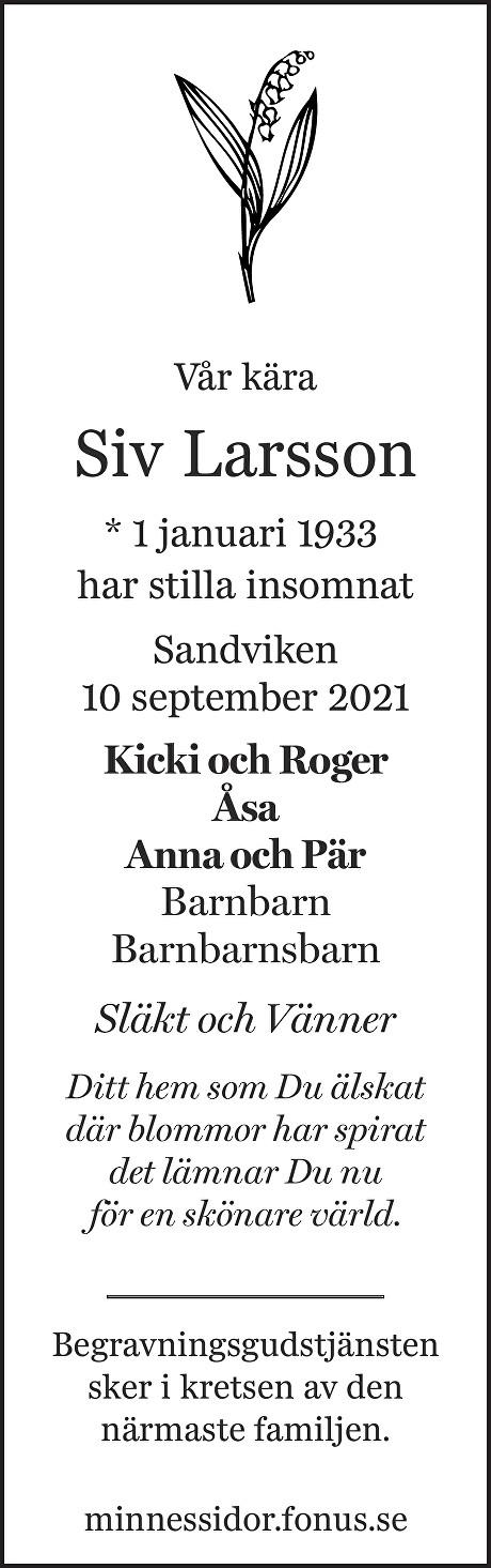 Siv Larsson Death notice