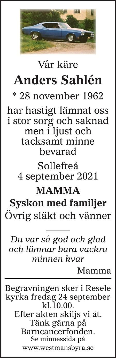 Anders Sahlén Death notice