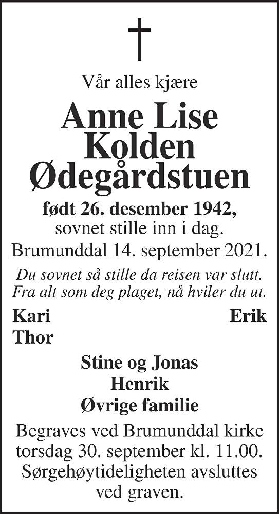 Anne Lise Kolden Ødegårdstuen Dødsannonse