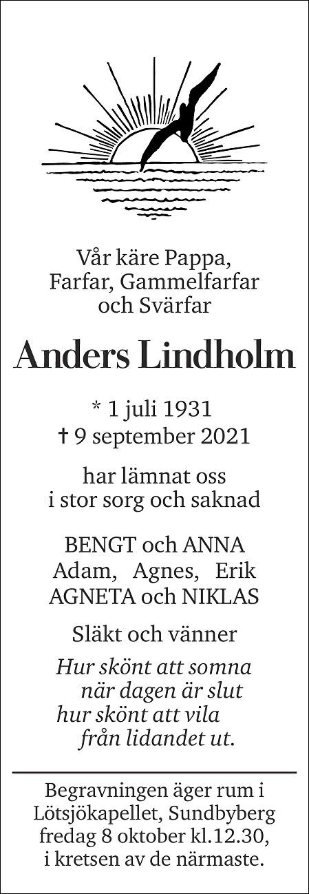 Anders Lindholm Death notice